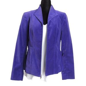 Jones New York Jackets & Coats - JONES NEW YORK Regal Purple Velvet Zip Up Blazer M